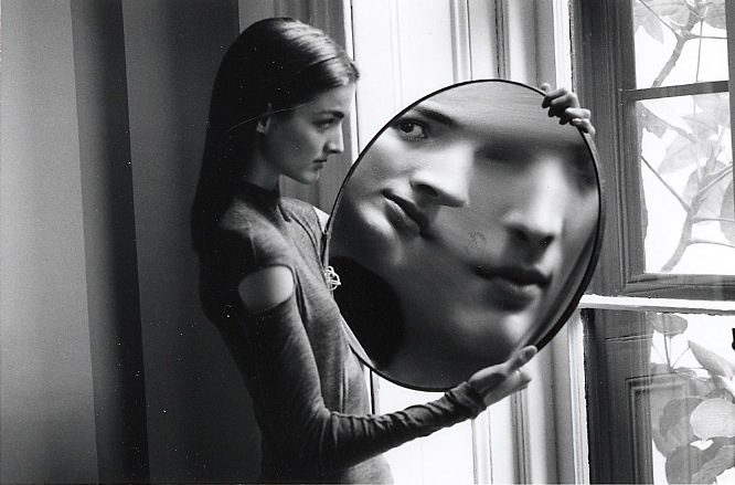 "Duane Michals, ""Dr. Heisenberg's Magic Mirror of Uncertainty"" (1998). 5 x 7 Silver Gelatin Photograph"