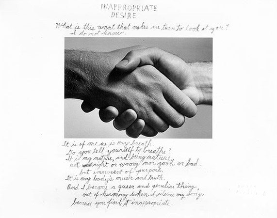 "Duane Michals, ""Inappropriate Desire"" (1986). 11 x 14 silver gelatin photograph with hand applied text"