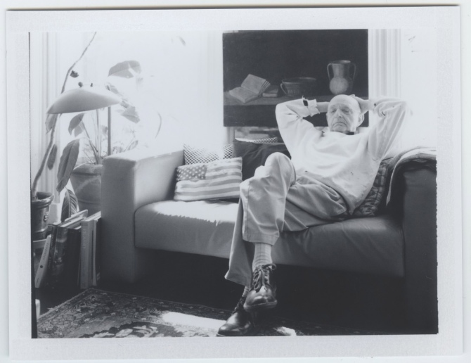 Duane Michals at home in NYC, March 2012. Polaroid portrait by Anna Bauer