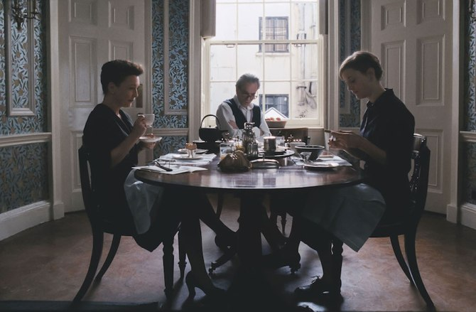 Reynolds (Daniel Day-Lewis), Alma (Vicky Krieps) and Cyril (Lesley Manville) in Phantom Thread (2017). Courtesy Focus Features.